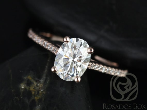 Rosados Box Ready to Ship Blake 8x6mm 14kt Rose Gold Oval F1- Moissanite and Diamonds Cathedral Engagement Ring