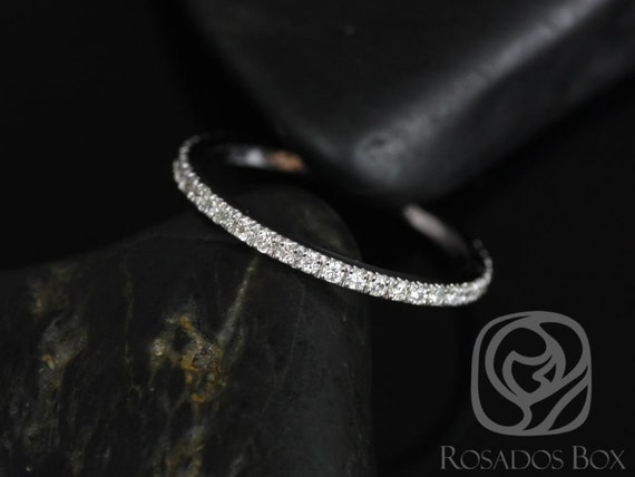 Rosados Box 14kt White Gold Matching Band to Sofia 8mm Pave Diamonds ALMOST Eternity Band