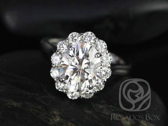 Rosados Box Katherine 10x8mm 14kt White Gold Oval Forever One Moissanite Diamond Flower Petal Halo Engagement Ring