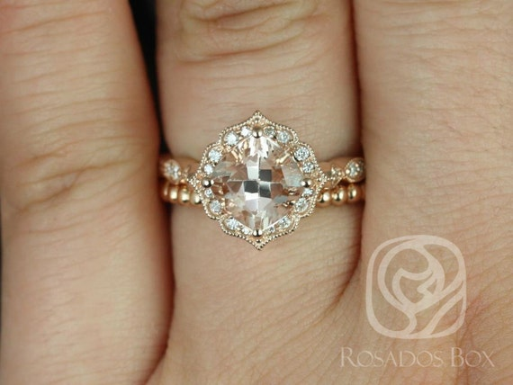 Rosados Box Lucille 7mm & Buddha Beads 14kt Rose Gold Cushion Morganite and Diamond Kite Set Rings Halo Wedding Set Rings