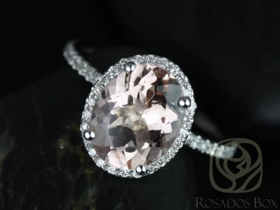 Rosados Box Jessica 10x8 mm 14kt White Gold Oval Morganite and Diamonds Halo Engagement Ring