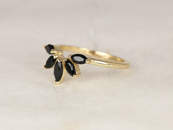 Cardi 14kt Solid Gold Marquise Black Onyx Minimalist Fan Feather Tiara Unique Nesting Ring,Rosados Box