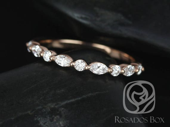 Rosados Box Ready to Ship Petite Cher 14kt Rose Gold Marquise Round Diamond Floating Single Prong HALFWAY Eternity Band Ring