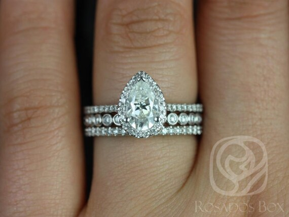 1ct Tabitha 8x5mm & Petite Bubbles 14kt White Gold Forever One Moissanite Diamonds Dainty Pave Pear Halo TRIO Wedding Set Rings,Rosados Box