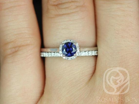 0.52ct Ready to Ship Amerie & Amanda 14k White Gold Blue Sapphire Diamond Pave Dainty Round Halo Wedding Set Rings,Rosados Box