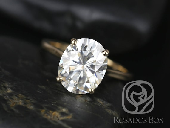 SALE Rosados Box Ready to Ship Suzy 11x9mm 14kt Yellow Gold Oval FB Moissanite Thin Skinny Engagement Ring
