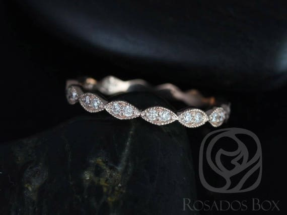 Rosados Box Ready to Ship Leah 14kt Rose Gold Extra Low Profile Leaves Double Diamond FULL Eternity Band