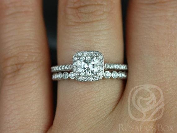 Rosados Box Camila 5mm & Petite Bubbles 14kt F1- Moissanite and Diamonds Cushion Halo Wedding Set