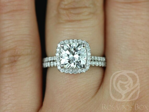 2ct Catalina 7.5mm 14kt White Gold Forever One Moissanite Diamond Thin Micropave Cushion Halo Classic Wedding Set Rings,Rosados Box