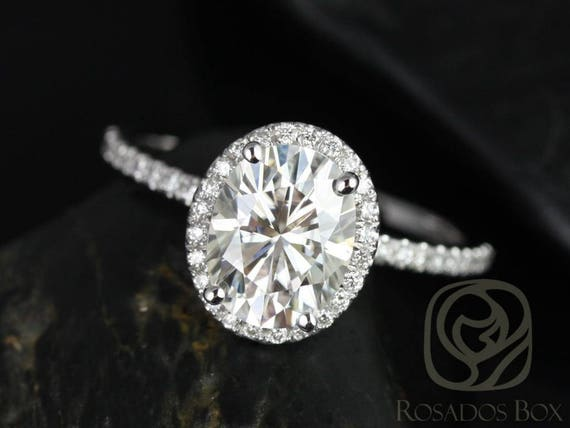 Rosados Box Ready to Ship Federella 9x7mm Platinum Oval F1- Moissanite and Diamond Halo Engagement Ring