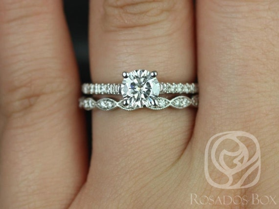 Rosados Box Eva 6mm & Christie Platinum Round Forever One Moissanite and Diamonds Cathedral Wedding Set