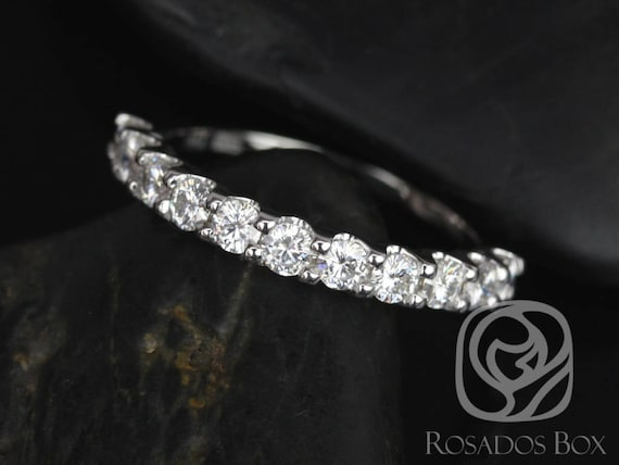 Rosados Box Ready to Ship DIAMOND FREE Cori 2.5mm 14kt White Gold Round F1 Moissanite HALFWAY Eternity Band