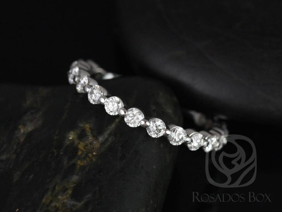 Diamonds Single Prong Floating  ALMOST Eternity Band Ring,14kt Solid White Gold,Medio Naomi/Medio Bubble & Breathe,Rosados Box