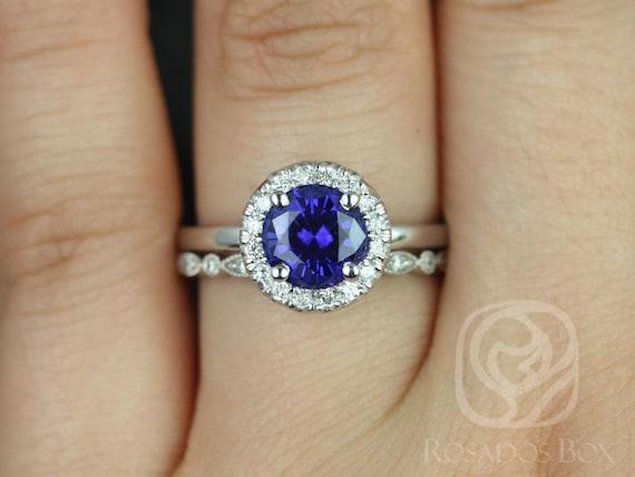 Rosados Box Katie 7mm & Ultra Petite Bead Eye 14kt White Gold Round Blue Sapphire and Diamonds Halo Wedding Set
