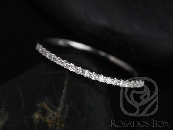 Rosados Box 14kt White Gold Matching Band to 5mm Barra/5mm & 6mm Kitana Size Diamonds HALFWAY Eternity Band