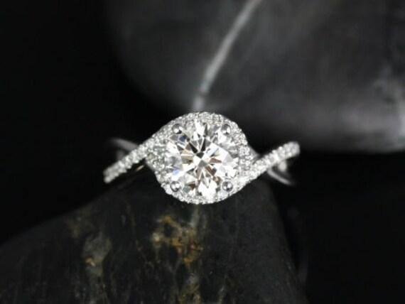 Rosados Box Maritza 7mm 14kt White Gold Round Forever One Moissanite Diamonds Halo Twist Engagement Ring
