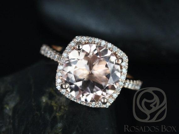 Rosados Box Barra 10mm 14kt Rose Gold Round Morganite and Diamonds Cushion Halo Engagement Ring