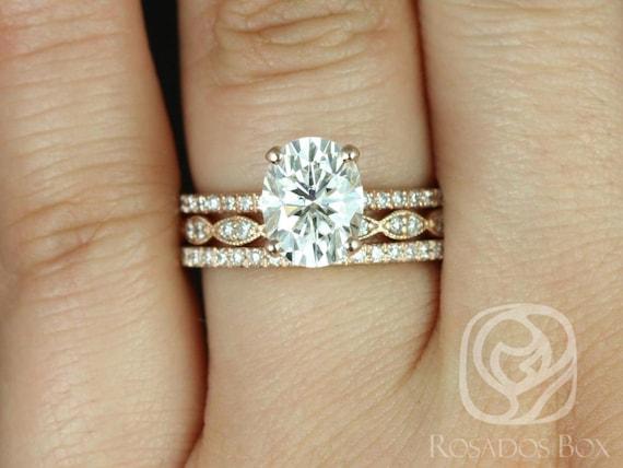 Rosados Box Hillary 9x7mm & Christie 14kt Rose Gold Oval F1- Moissanite and Diamond Basket TRIO Wedding Set