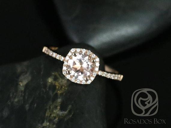 Rosados Box Barra 6mm 14kt Rose Gold Morganite and Diamonds Cushion Halo Engagement Ring