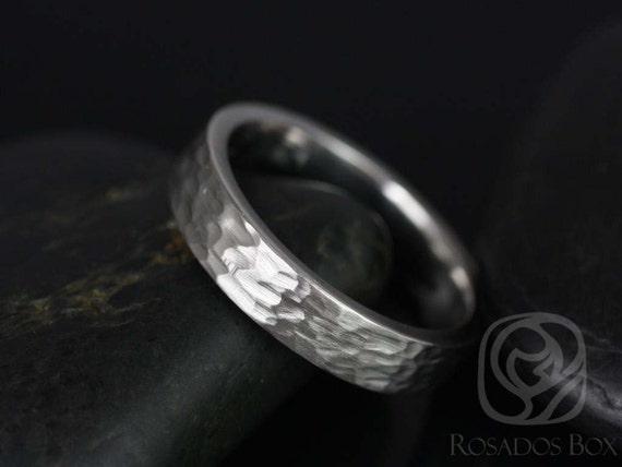 Rosados Box Mabus 14kt White Gold Hammered Matte Finish Men's Wedding Ring