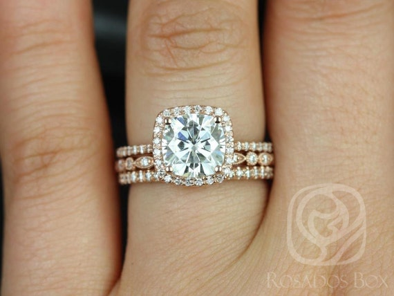 2ct Catalina 7.5mm & Gwen 14kt Rose Gold Forever One Moissanite Diamonds Dainty Pave Cushion Halo TRIO Wedding Set Rings,Rosados Box