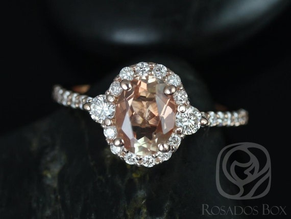 Bridgette 8x6mm 14kt Solid Rose Gold Sunstone Diamonds 3 Stone Oval Scalloped Unique Halo Engagement Ring,Rosados Box