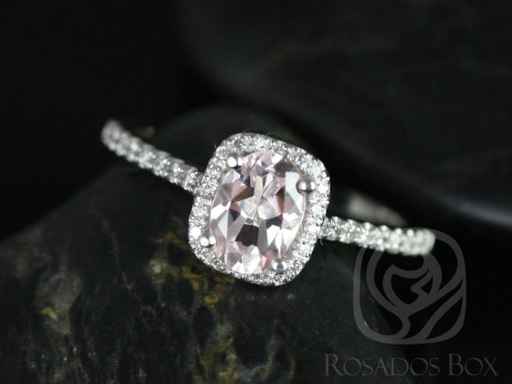 Rosados Box Romani 7x5mm 14kt White Gold Morganite and Diamonds Cushion Halo Engagement Ring