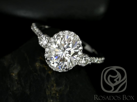 2cts Natalia 9x7mm 14kt White Gold Forever One Moissanite Diamonds Dainty 3 Stone Unique Oval Halo Engagement Ring,Rosados Box