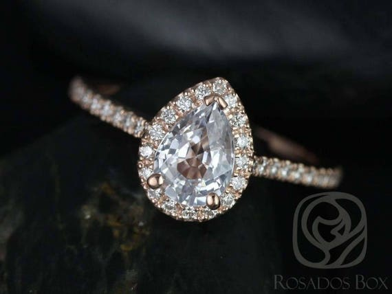 Ready to Ship Tabitha 7x5mm 14kt Solid YELLOW Gold White Sapphire Diamonds Micro Pave Pear Halo Engagement Ring,Rosados Box