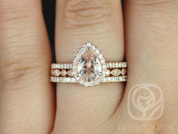 Tabitha 8x6mm & Gwen 14kt Rose Gold Morganite Diamond Dainty Art Deco Pear Halo TRIO Wedding Set Rings Rings,Rosados Box