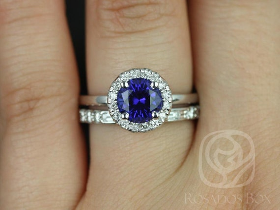 Rosados Box Katie 7mm & Gabriella 14kt White Gold Round Blue Sapphire Diamond Halo Wedding Set Rings