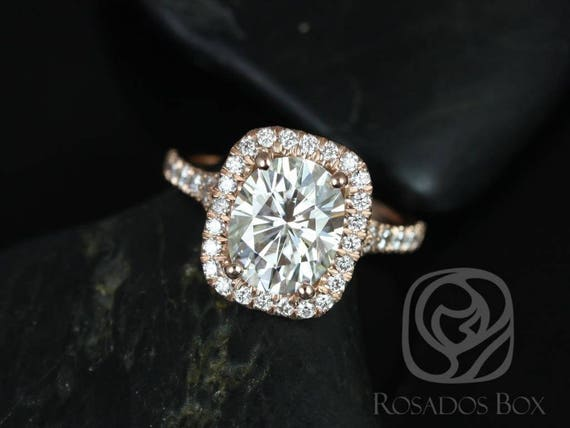 SALE Rosados Box Ready to Ship Avery 10x8mm 14kt Rose Gold Oval FB Moissanite and Diamond Split Shank Cushion Halo Engagement Ring