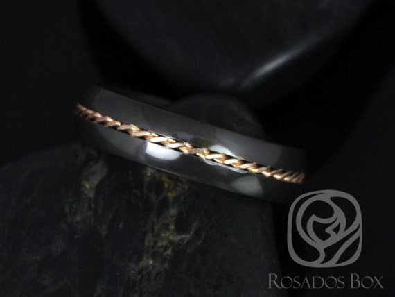 Rosados Box Darth 6mm 14kt Rose Gold & Black Zirconium Single Braided Band
