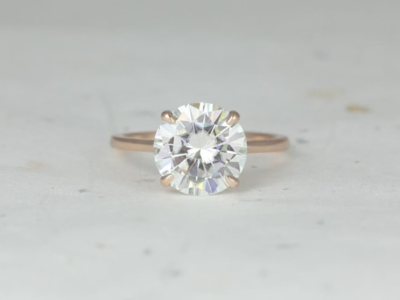 3.50ct Elenora 10mm 14kt Rose Gold Round Forever One Moissanite Talon Prong Dainty Round Solitaire Engagement Ring,Rosados Box