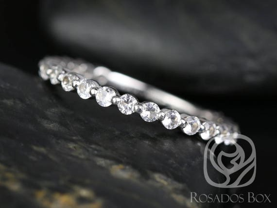 Rosados Box DIAMOND FREE Petite Naomi/Petite Bubble & Breathe 14kt White Gold White Sapphire ALMOST Eternity Band