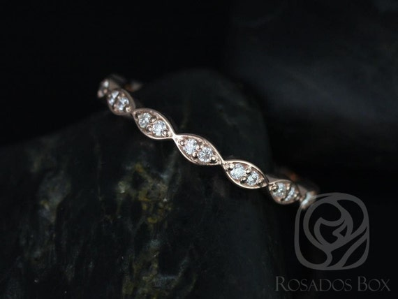 14kt Rose Gold Vintage Scalloped Diamond WITHOUT Milgrain Matching Band Christie/Katya/Sunny/Samantha ALMOST Eternity Ring,Rosados Box