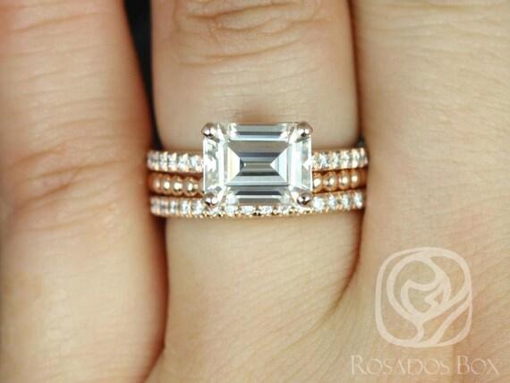 Rosados Box Becca 9x7mm & Buddha Beads 14kt Rose Gold Emerald Forever One Moissanite Diamonds TRIO Wedding Set Rings