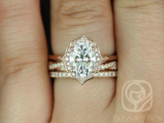2ct Mae 9x7mm-Twyla-Pernella 14kt Rose Gold Forever One Moissanite Diamond Twist Unique Oval Halo TRIO Wedding Set Rings,Rosados Box