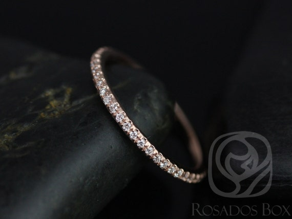 Kimberly/Catalina 14kt Solid Rose Gold Thin Diamond Micropave Matching Band ALMOST Dainty Eternity Ring,Rosados Box