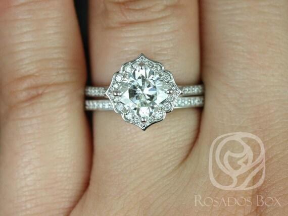 Rosados Box Rori 7mm & Victoria 14kt White Gold Cushion F1- Moissanite and Diamond Halo WITHOUT Milgrain Wedding Set