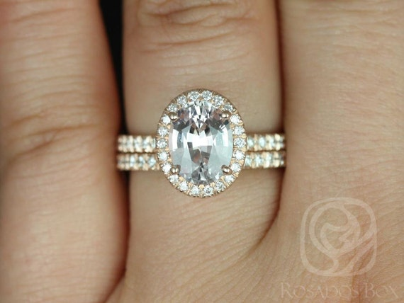 2.03ct Oval Peach Sapphire Diamond Micropave Halo Wedding Set Rings,14kt Solid Rose Gold,Ready to Ship Chantelle 2.03cts,Rosados Box