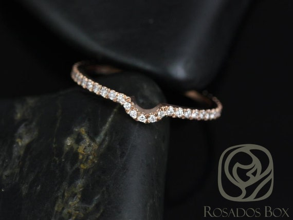 Rosados Box 14kt Rose Gold Matching Band to Dora 8mm Diamonds ALMOST Eternity Band
