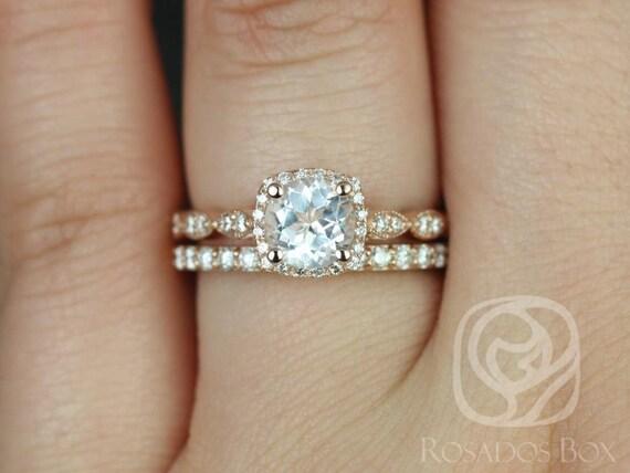 Rosados Box Christie 6mm & Taylor 14kt Rose Gold Round White Topaz Diamond Halo WITH Milgrain Wedding Set Rings