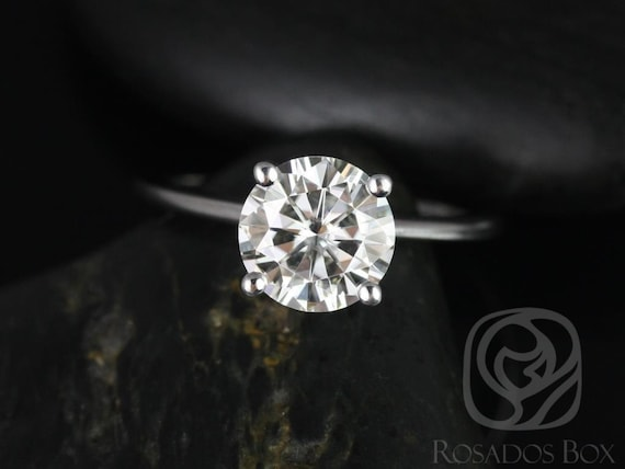 2ct Skinny Alberta 8mm 14kt White Gold Forever One Moissanite Dainty Round Solitaire Engagement Ring,Rosados Box