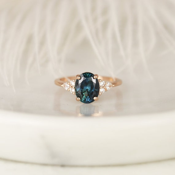 2.60ct Ready to Ship Cindy 14kt Rose Gold Peacock Jungle Teal Oval Sapphire Diamond Cluster 3 Stone Oval Engagement Ring,Rosados Box