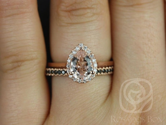 Rosados Box Julie 8x6mm & Kierra 14kt Rose Gold Pear Morganite  Diamond Halo Wedding Set Rings