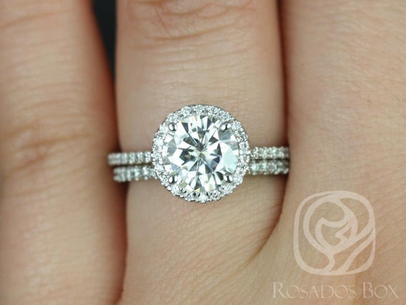 1.50ct Round Forever One Moissanite Diamond Thin Pave Halo Classic Wedding Set Rings Rings,14kt White Gold,Kimberly 7.5mm,Rosados Box