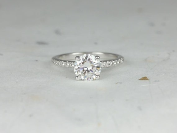 Rosados Box Eileen 7.5mm 14kt White Gold Round Forever One Moissanite Diamonds Non-Cathedral Engagement Ring