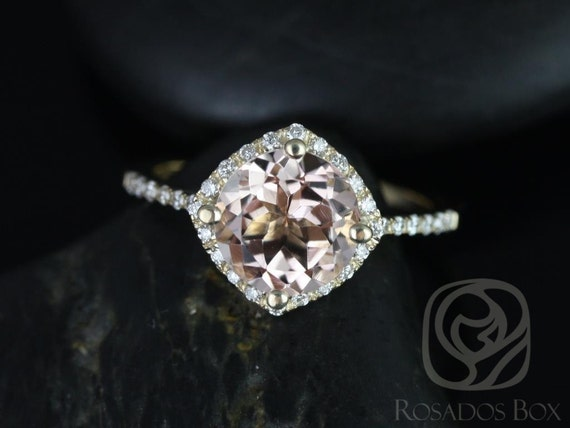 Kitana 8mm 14kt Yellow Gold Morganite Diamonds Dainty Thin Micro Pave Kite Cushion Halo Engagement Ring,Rosados Box