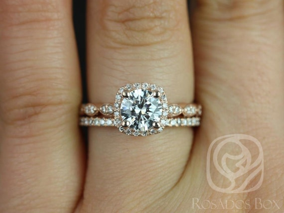 Rosados Box Christie 6.5mm & Swtht Kubian 14kt F1- Moissanite Diamond Halo WITHOUT Milgrain Wedding Set